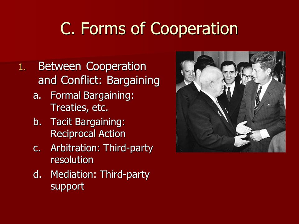 C. Forms of Cooperation Between Cooperation and Conflict: Bargaining