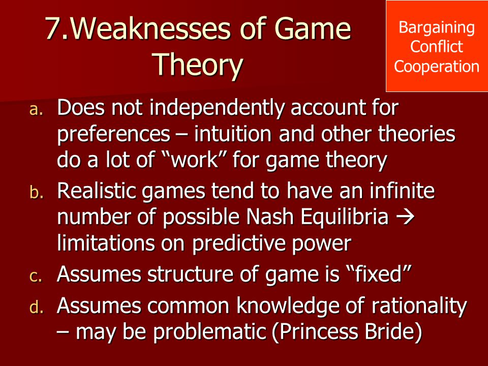 7.Weaknesses of Game Theory