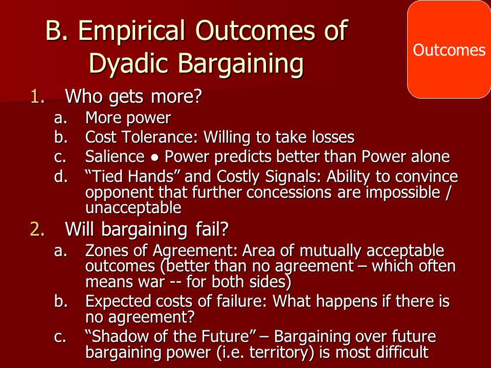B. Empirical Outcomes of Dyadic Bargaining
