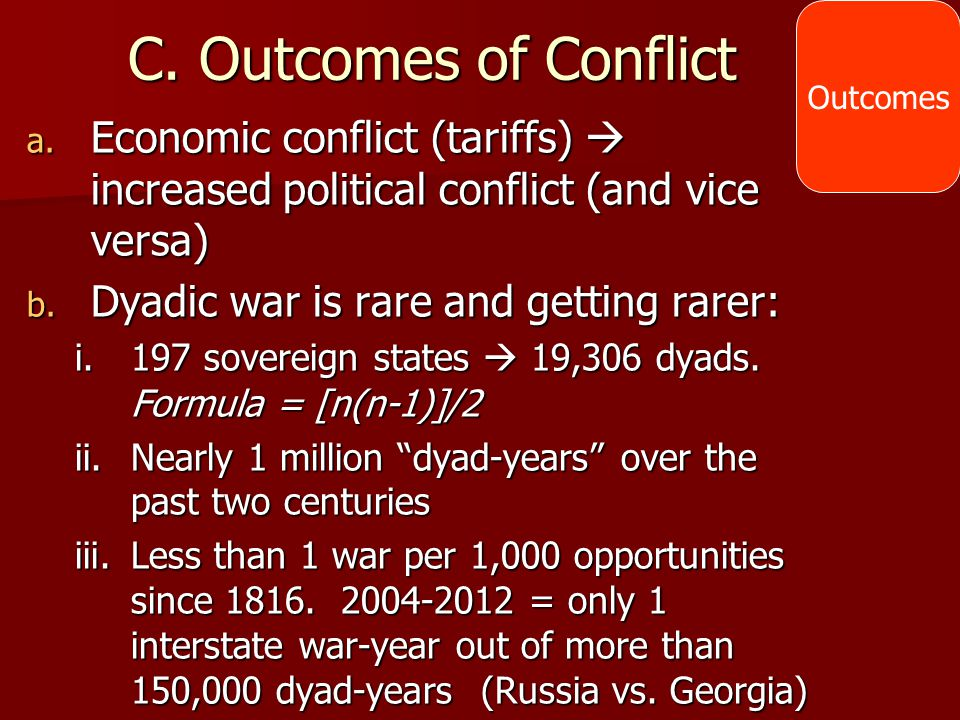 Outcomes C. Outcomes of Conflict. Economic conflict (tariffs)  increased political conflict (and vice versa)