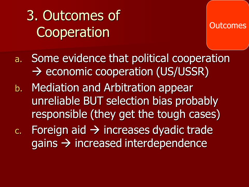 3. Outcomes of Cooperation