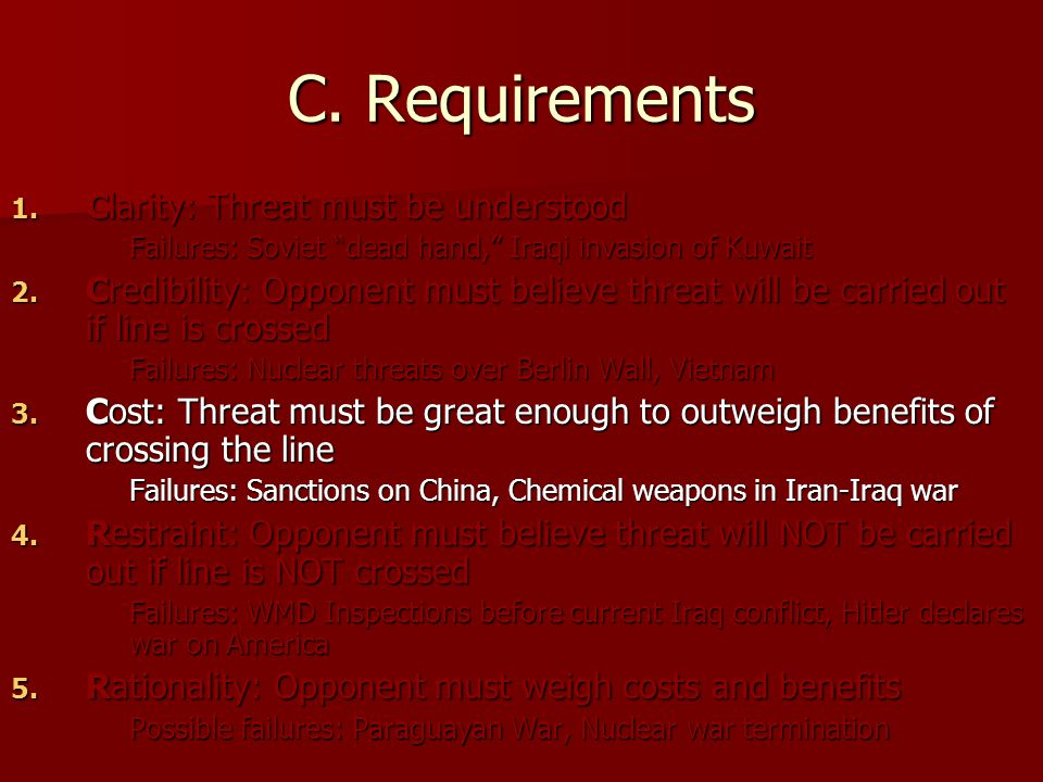 C. Requirements Clarity: Threat must be understood