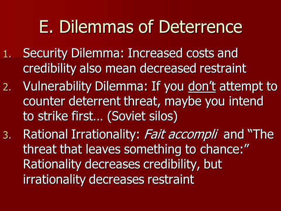 E. Dilemmas of Deterrence