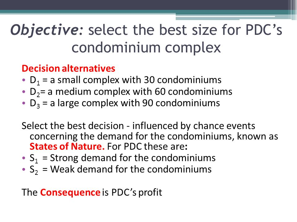 Objective: select the best size for PDC's condominium complex