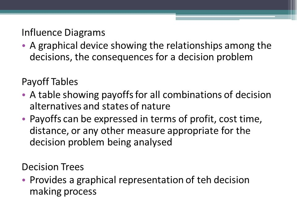 Influence Diagrams A graphical device showing the relationships among the decisions, the consequences for a decision problem.