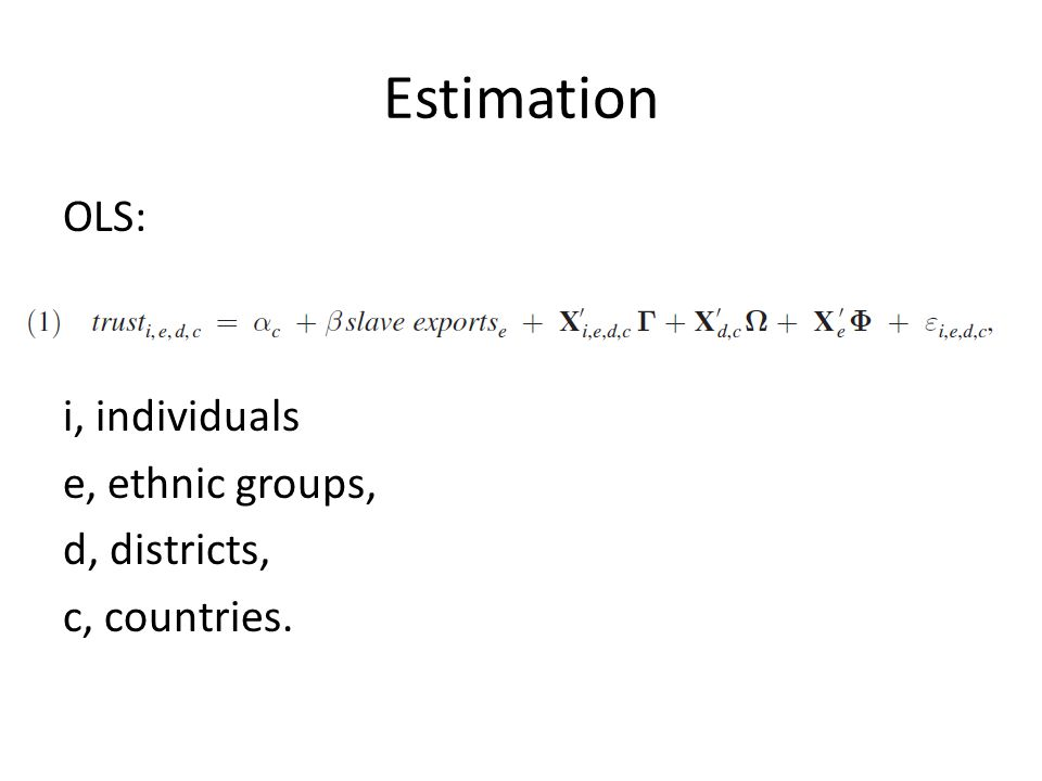 Estimation OLS: i, individuals e, ethnic groups, d, districts, c, countries.