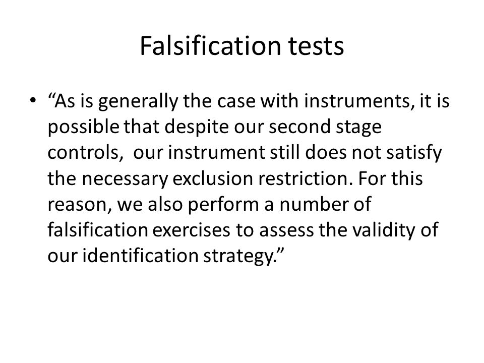 Falsification tests
