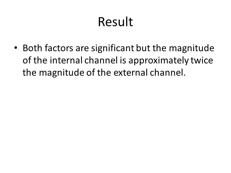 Result Both factors are significant but the magnitude of the internal channel is approximately twice the magnitude of the external channel.