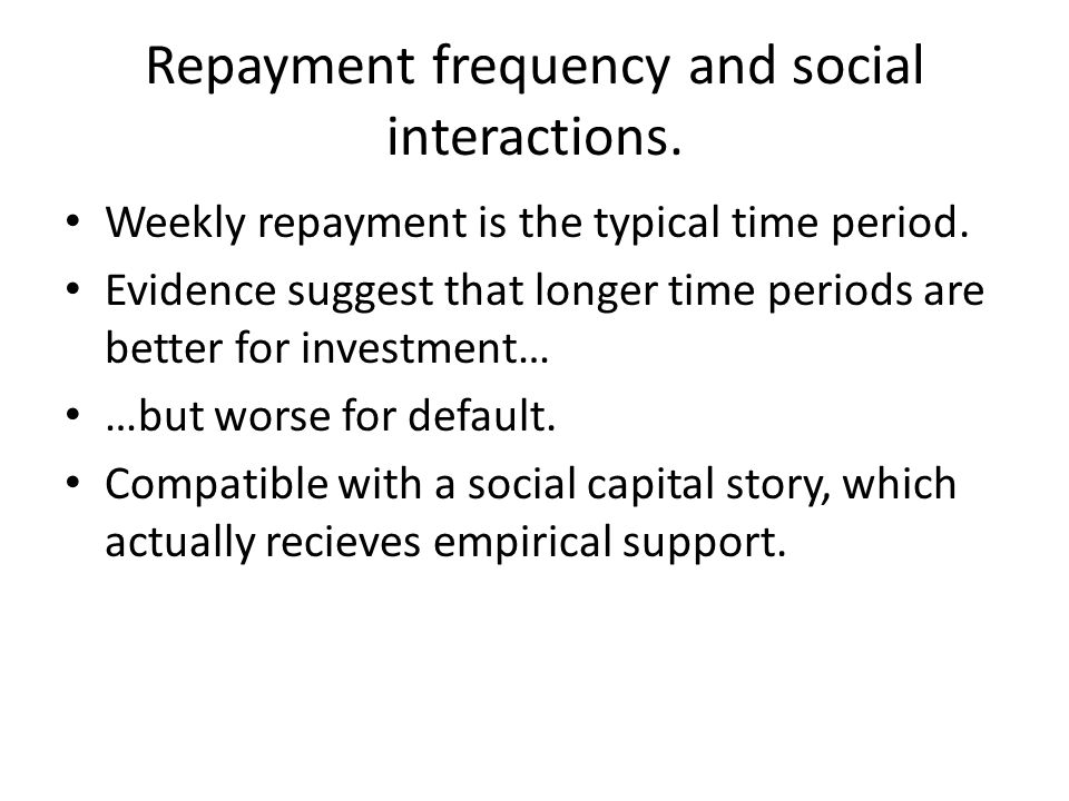 Repayment frequency and social interactions.