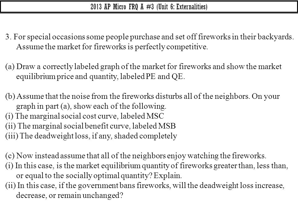 2013 AP Micro FRQ A #3 (Unit 6: Externalities)