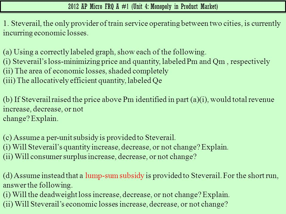 2012 AP Micro FRQ A #1 (Unit 4: Monopoly in Product Market)