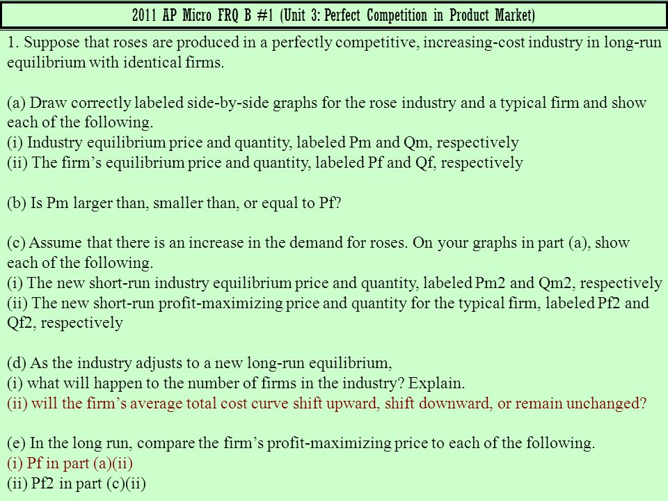2011 AP Micro FRQ B #1 (Unit 3: Perfect Competition in Product Market)