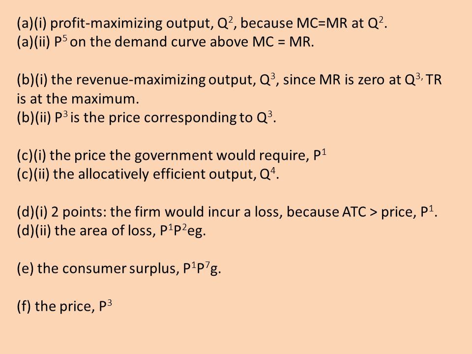 (a)(i) profit-maximizing output, Q2, because MC=MR at Q2.