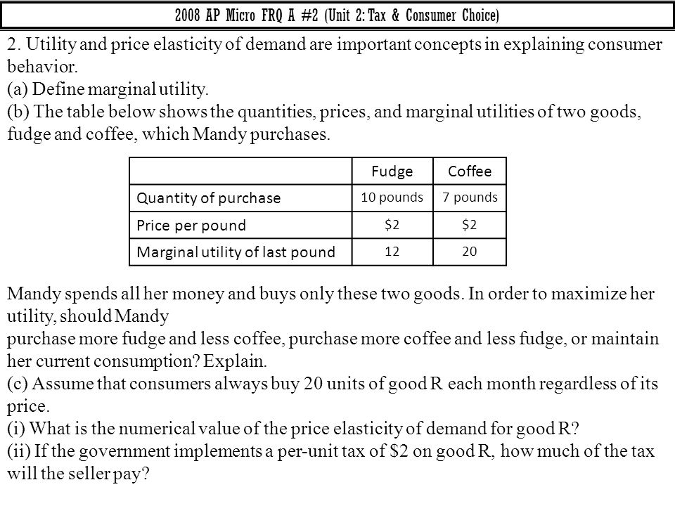 2008 AP Micro FRQ A #2 (Unit 2: Tax & Consumer Choice)