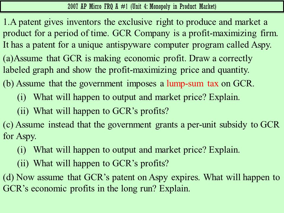 2007 AP Micro FRQ A #1 (Unit 4: Monopoly in Product Market)