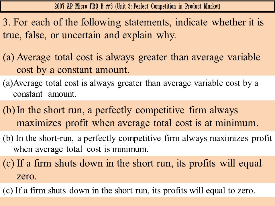 2007 AP Micro FRQ B #3 (Unit 3: Perfect Competition in Product Market)