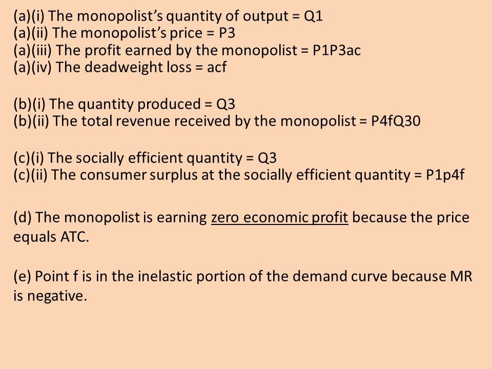 (a)(i) The monopolist's quantity of output = Q1