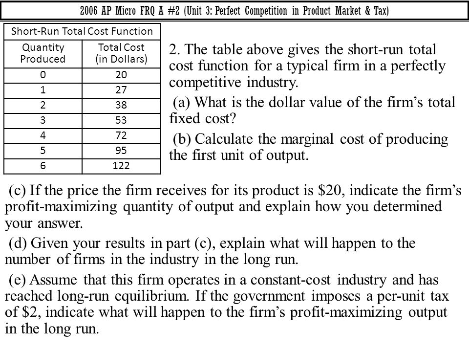 (a) What is the dollar value of the firm's total fixed cost