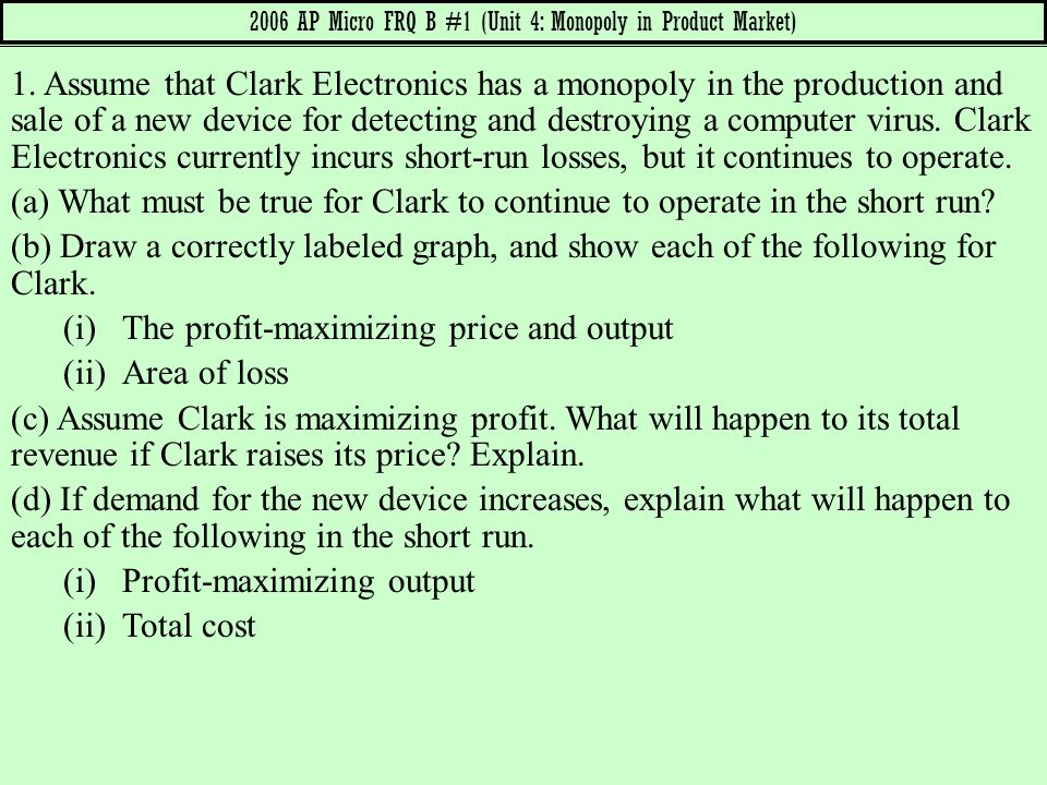 2006 AP Micro FRQ B #1 (Unit 4: Monopoly in Product Market)