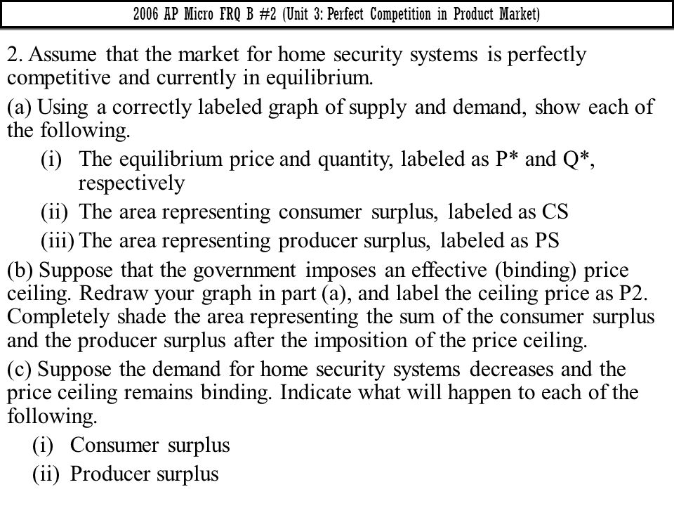 2006 AP Micro FRQ B #2 (Unit 3: Perfect Competition in Product Market)
