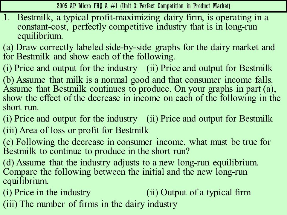 2005 AP Micro FRQ A #1 (Unit 3: Perfect Competition in Product Market)