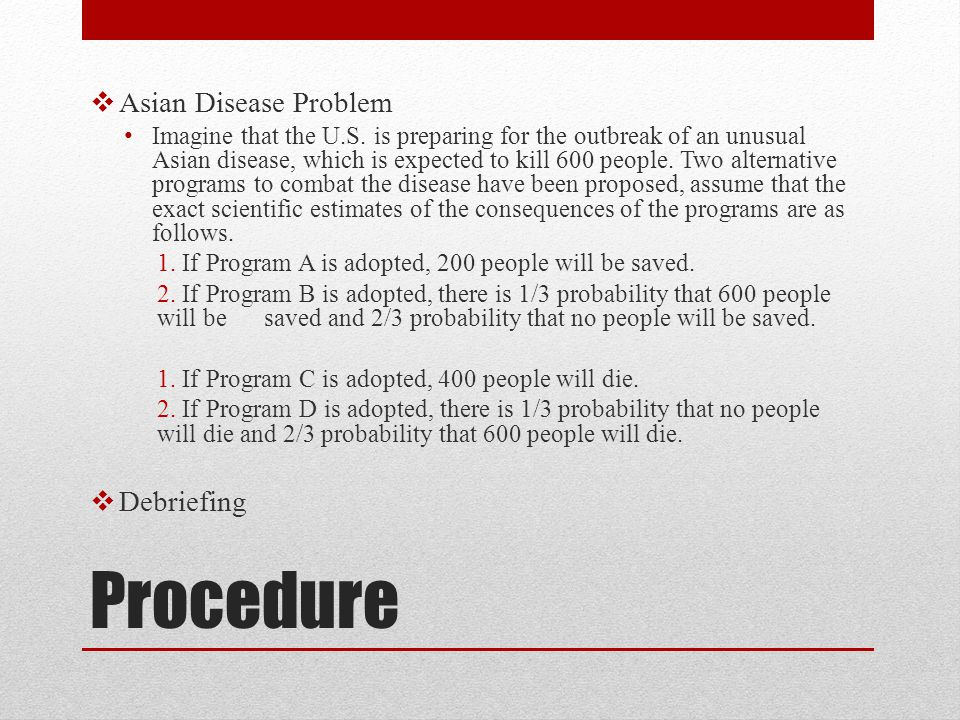 Procedure Asian Disease Problem Debriefing