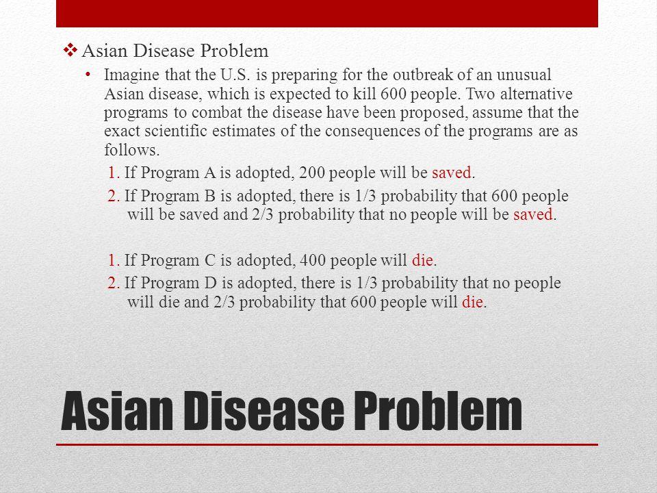 Asian Disease Problem Asian Disease Problem