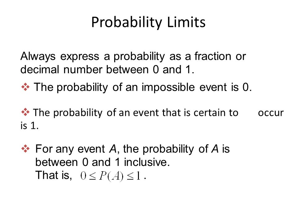 Probability Limits The probability of an impossible event is 0. Always express a probability as a fraction or decimal number between 0 and 1.