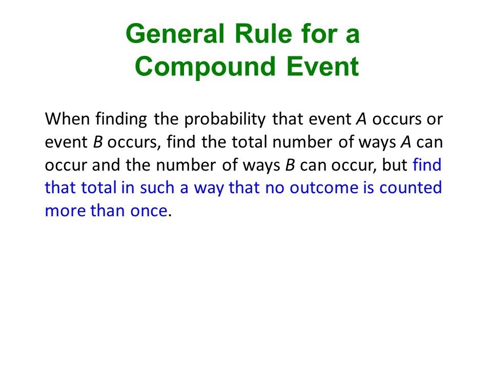 General Rule for a Compound Event