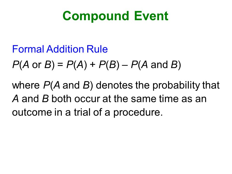 Compound Event Formal Addition Rule