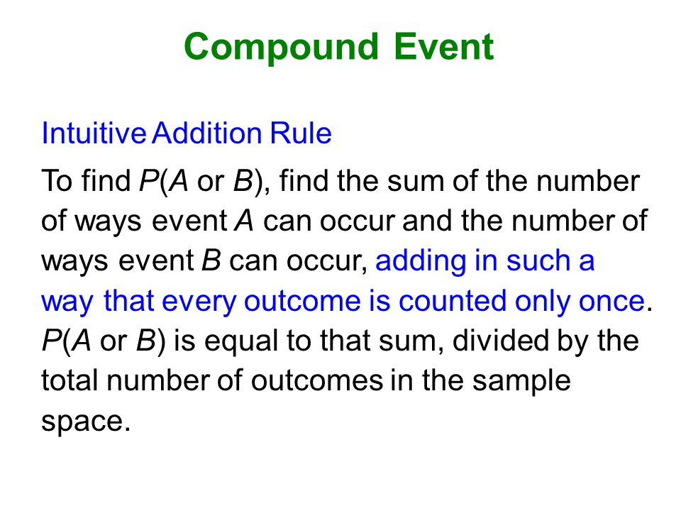 Compound Event Intuitive Addition Rule