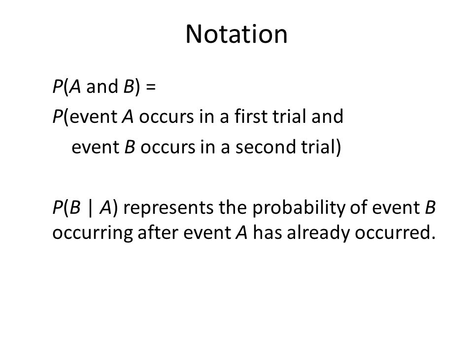 Notation P(A and B) = P(event A occurs in a first trial and