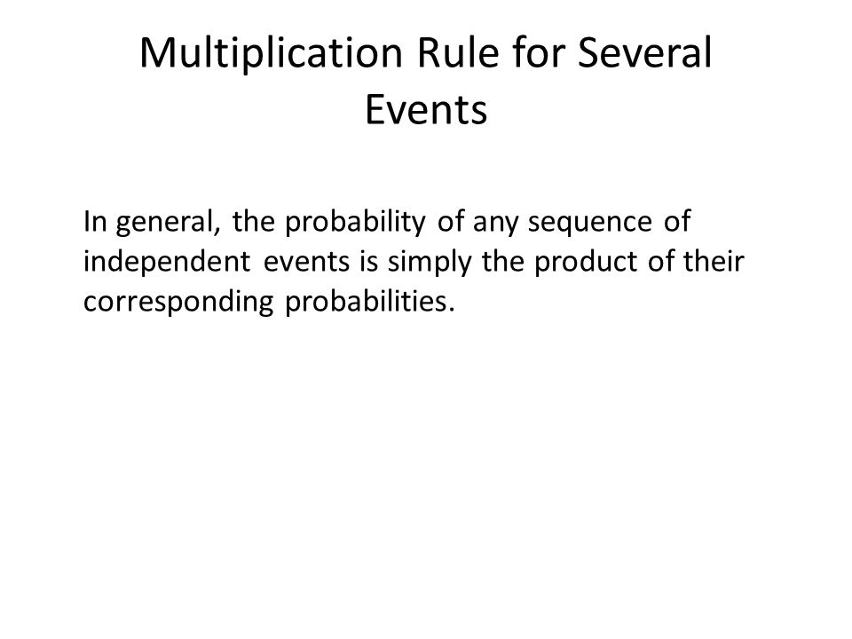 Multiplication Rule for Several Events