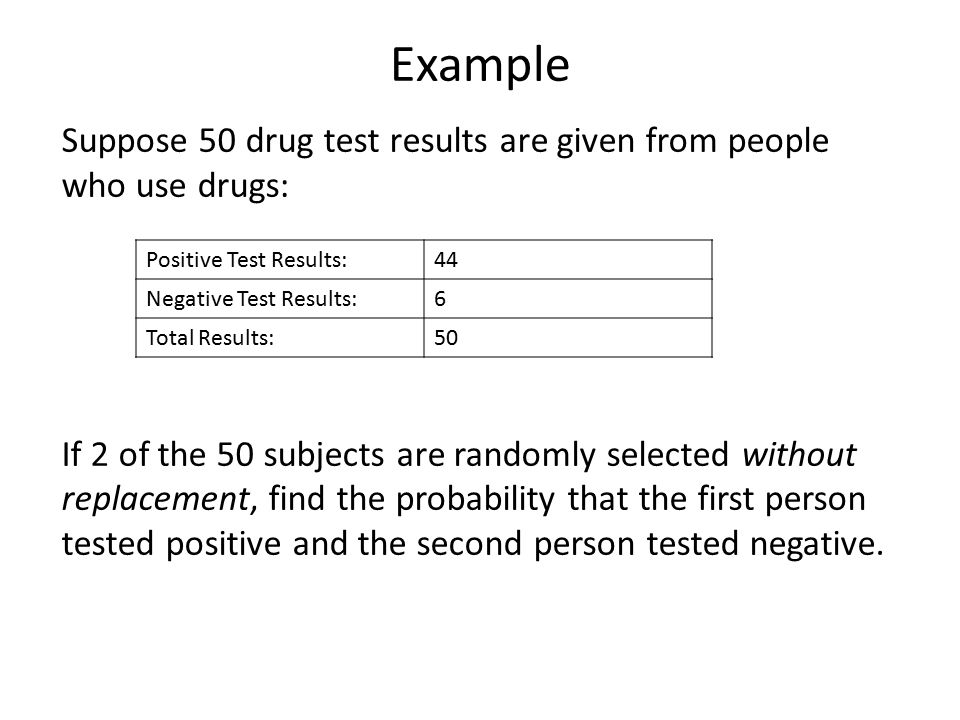 Example Suppose 50 drug test results are given from people who use drugs: