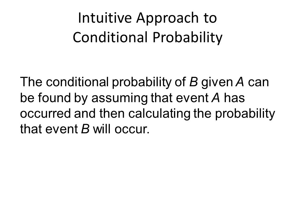 Intuitive Approach to Conditional Probability
