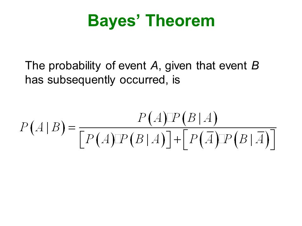 Bayes' Theorem The probability of event A, given that event B has subsequently occurred, is