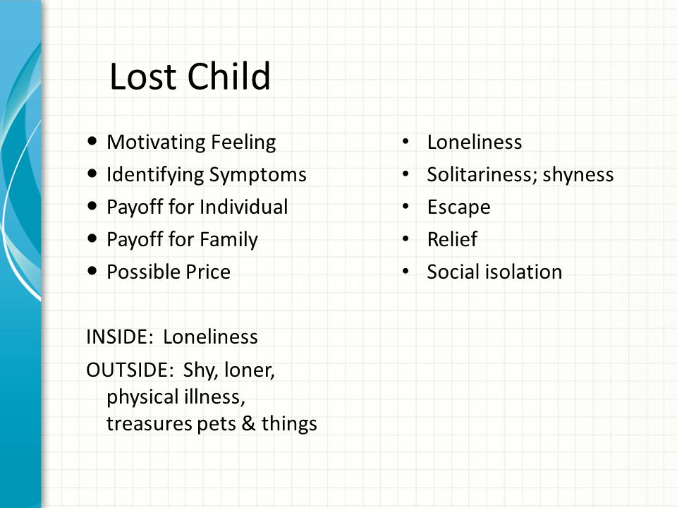 Lost Child Motivating Feeling Identifying Symptoms