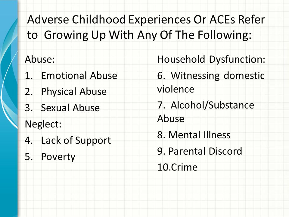 Adverse Childhood Experiences Or ACEs Refer to Growing Up With Any Of The Following: