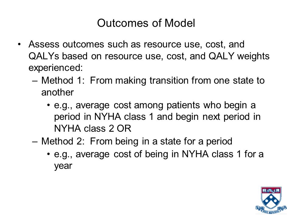 Outcomes of Model Assess outcomes such as resource use, cost, and QALYs based on resource use, cost, and QALY weights experienced: