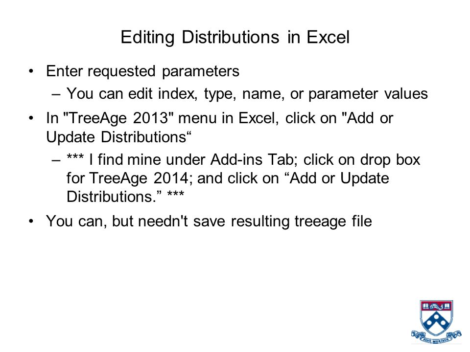 Editing Distributions in Excel