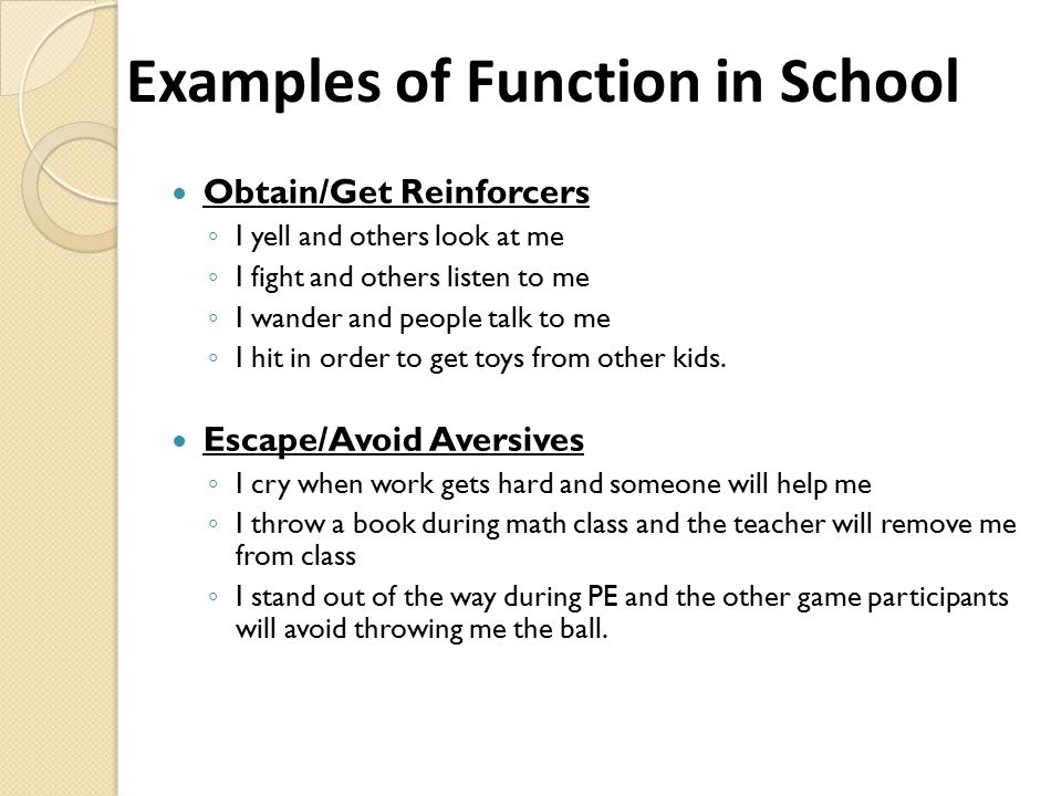 Examples of Function in School