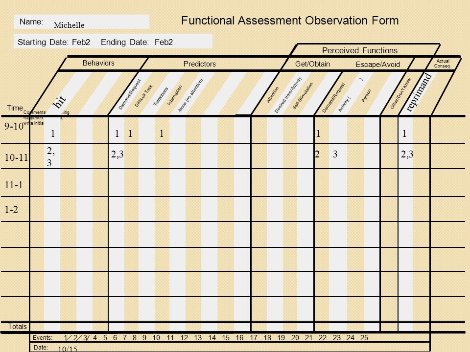 Functional Assessment Observation Form