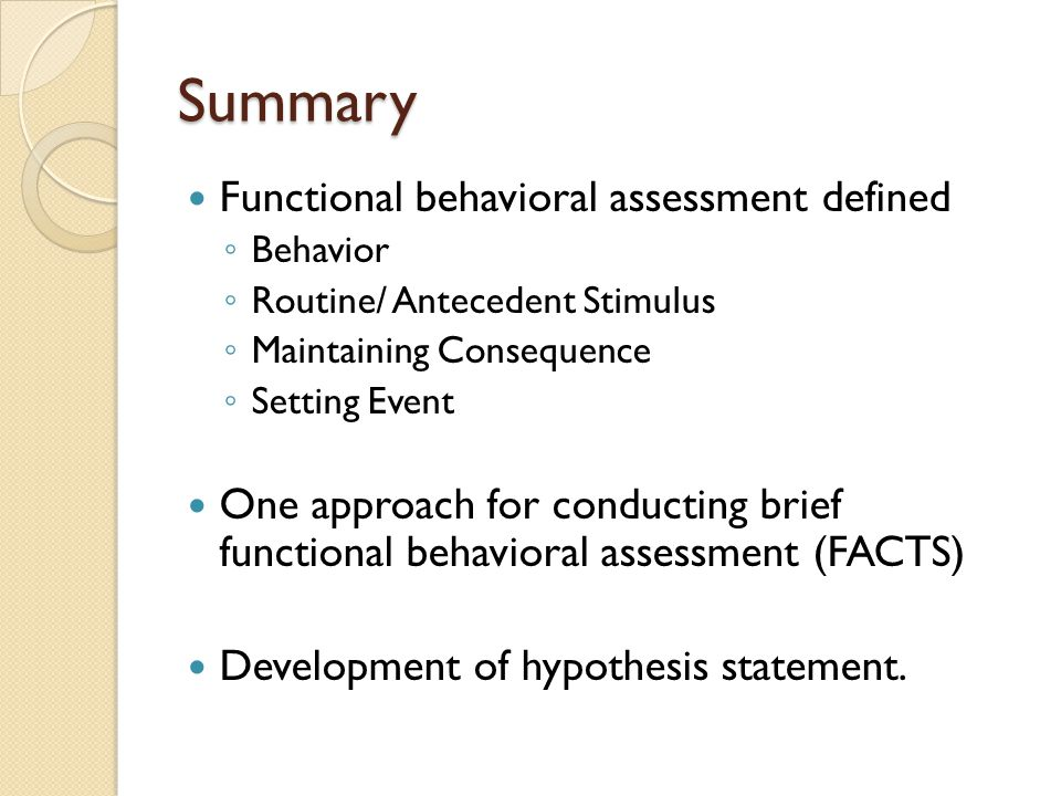 Summary Functional behavioral assessment defined