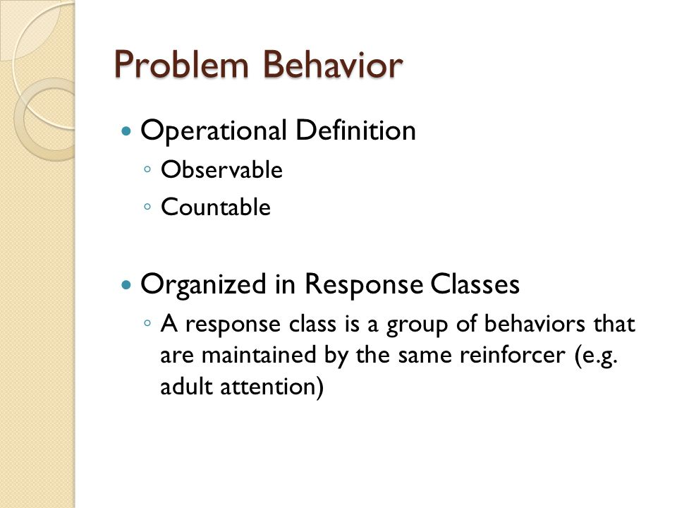 Problem Behavior Operational Definition Organized in Response Classes