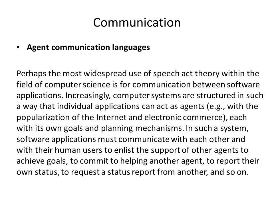 Communication Agent communication languages