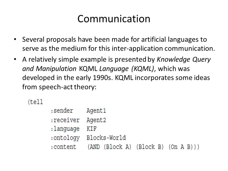 Communication Several proposals have been made for artificial languages to serve as the medium for this inter-application communication.