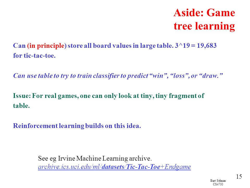 Aside: Game tree learning