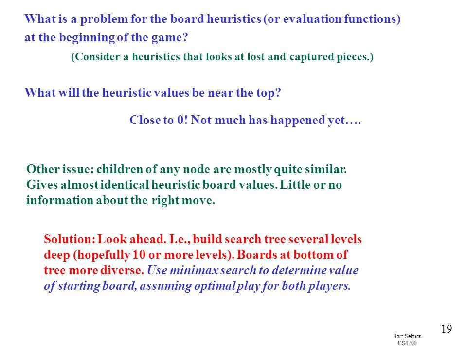 What will the heuristic values be near the top