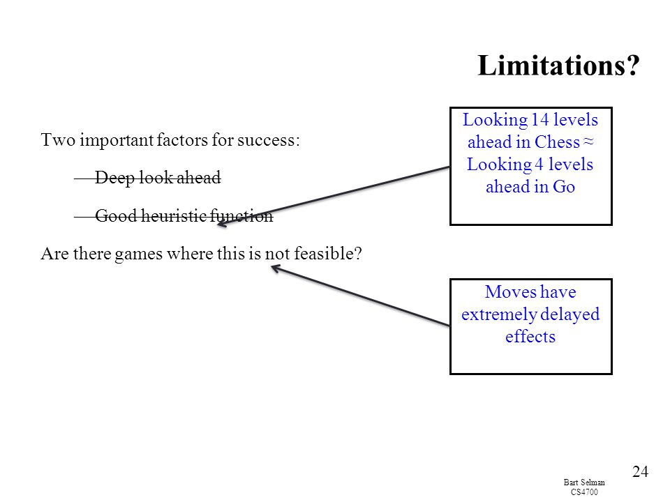 Limitations Looking 14 levels ahead in Chess ≈ Looking 4 levels ahead in Go. Two important factors for success: