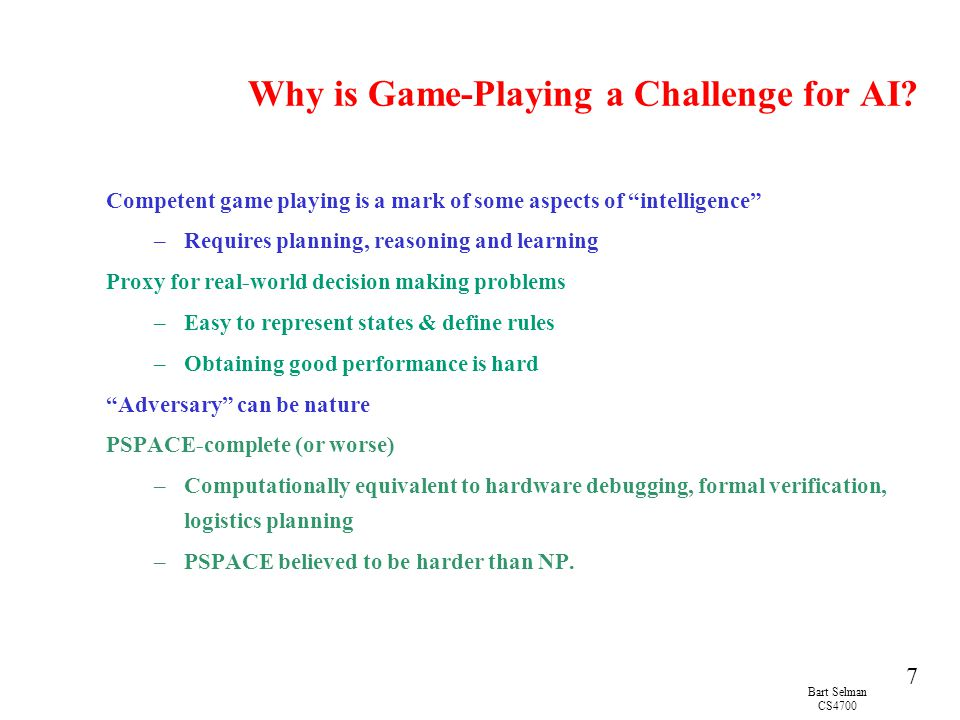 Why is Game-Playing a Challenge for AI